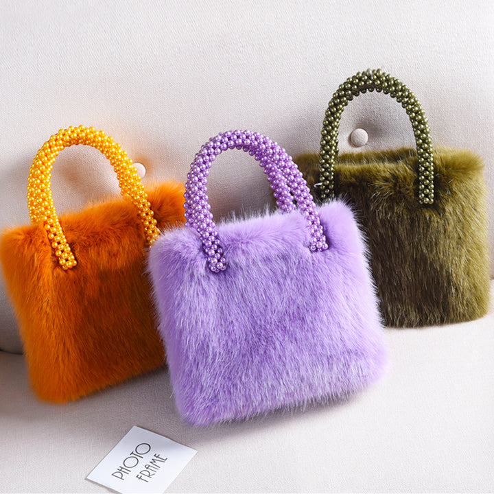 Fashion Faux Fur Bag with Pearl Handles