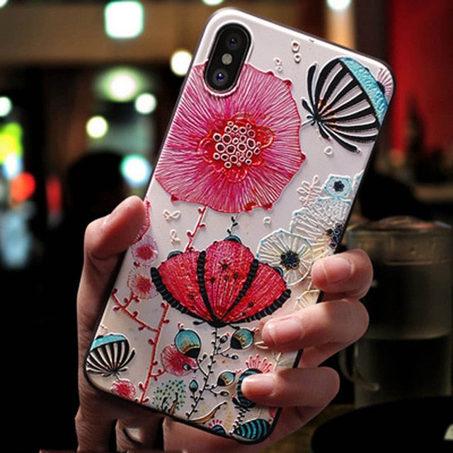 Exotic Flower 3D Soft Silicone Phone Case for All iPhone Models
