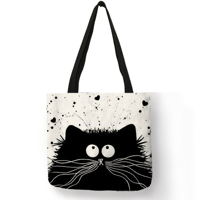 Linen Tote Bag with Cute Cat Print