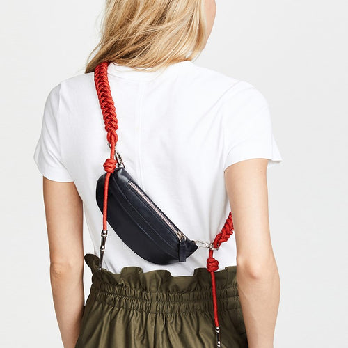 Rope Crossbody Pu Leather Waist Bag Fanny Pack