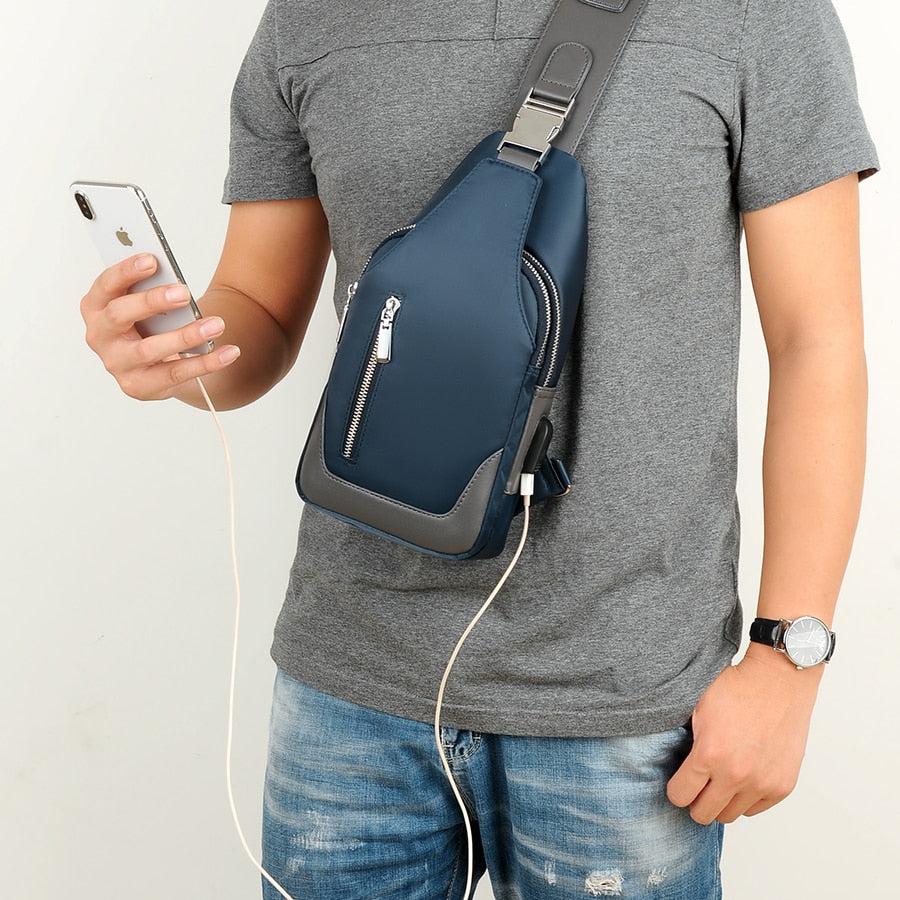 Crossbody Bag for Men with USB