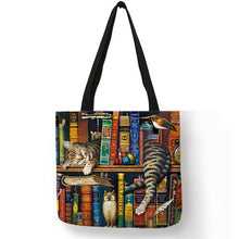 Load image into Gallery viewer, Cat Print Linen Tote Bag