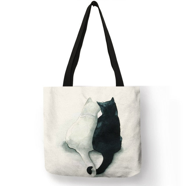 Canvas Tote Bag with Watercolor Cat Print