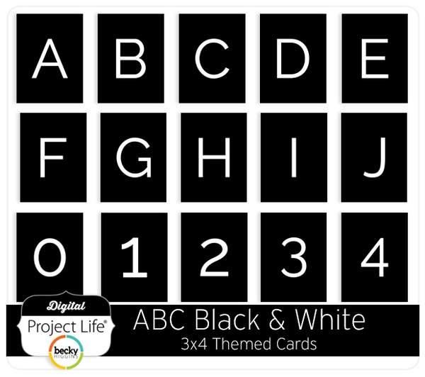 ABC Themed Cards - Black & White