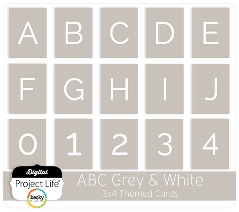 ABC Themed Cards - Grey & White