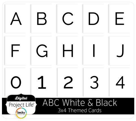ABC Themed Cards - White & Black