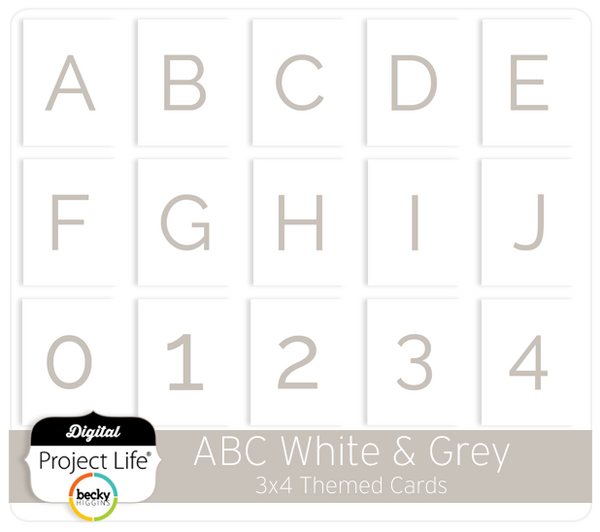 ABC Themed Cards - White & Grey