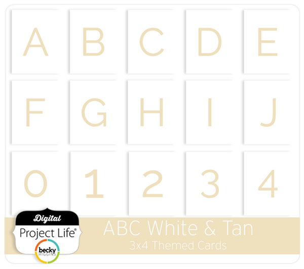 ABC Themed Cards - White & Tan