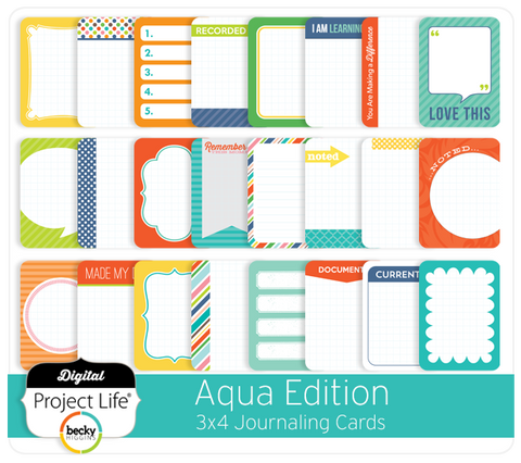Aqua Edition 3x4 Journaling Cards