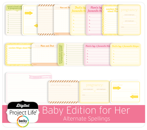 Baby Edition for Her Extra Cards Alternate Spelling