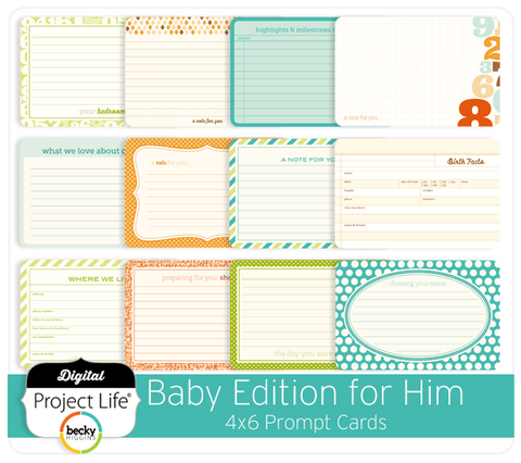 Baby Edition for Him 4x6 Prompt Cards