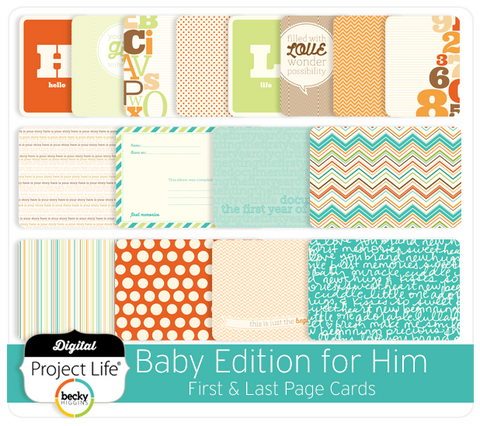 Baby Edition for Him First + Last Page Cards