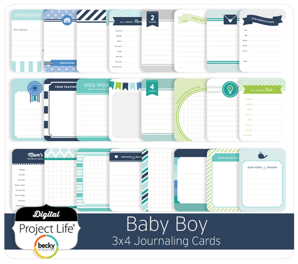 Baby Boy Edition 3x4 Journaling Cards