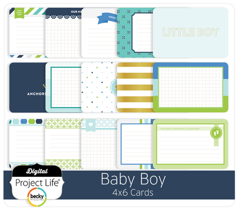 Baby Boy Edition 4x6 Journaling Cards