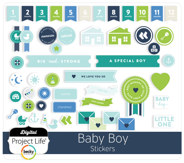 Digital Project Life Baby Boy Edition Scrapbook Stickers ...