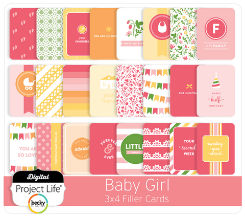 Baby Girl Edition 3x4 Filler Cards