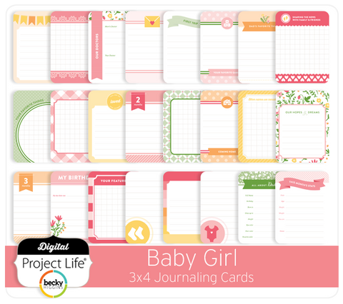 Baby Girl Edition 3x4 Journaling Cards