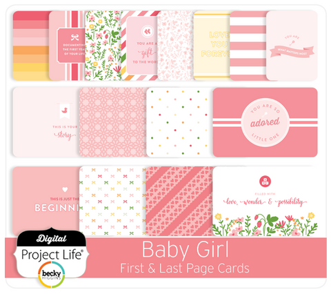 Baby Girl Edition First & Last Page Cards