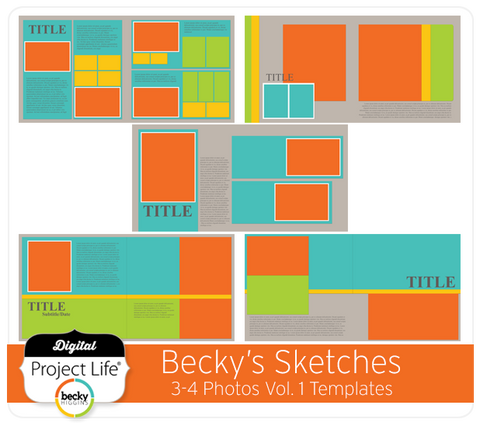 Becky's Sketches 3-4 Photos Templates Vol. 1