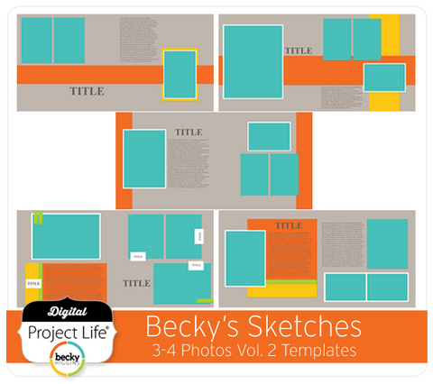 Becky's Sketches 3-4 Photos Templates Vol. 2