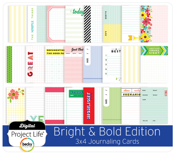 Bright & Bold Edition 3x4 Journaling Cards