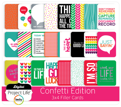Confetti Edition 3x4 Filler Cards