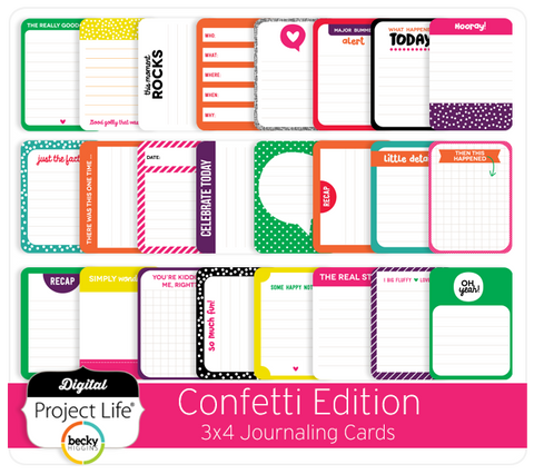 Confetti Edition 3x4 Journaling Cards
