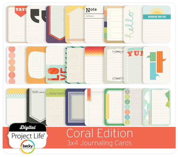 Coral Edition 3x4 Journaling Cards