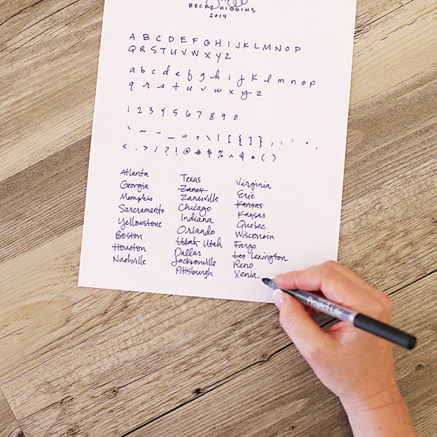 Custom handwriting paper in words