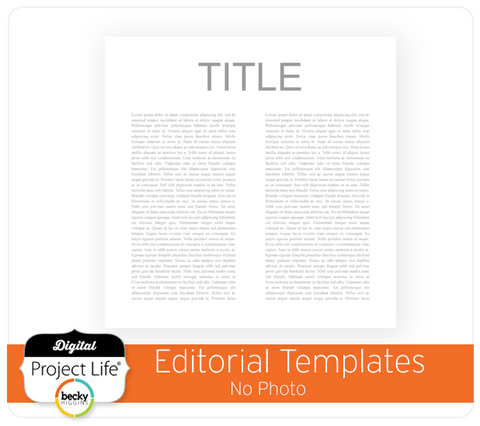 Project Life Editorial Template No Photo
