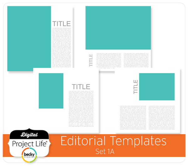 Project Life Editorial Templates Set 1A