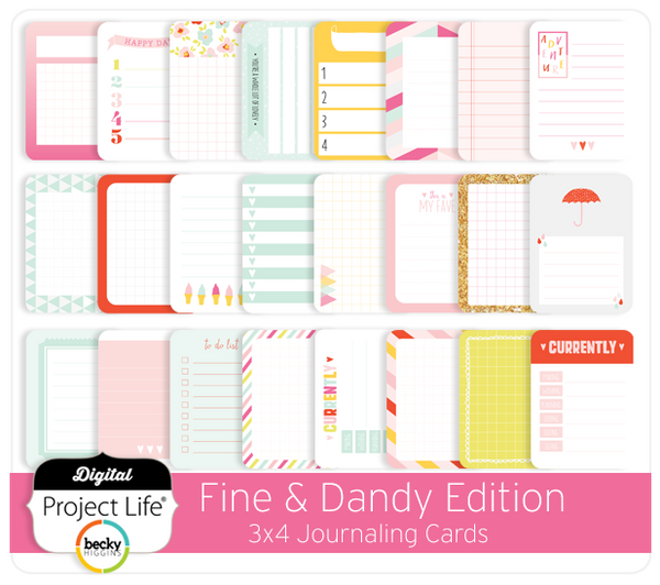 Fine & Dandy Edition 3x4 Journaling Cards