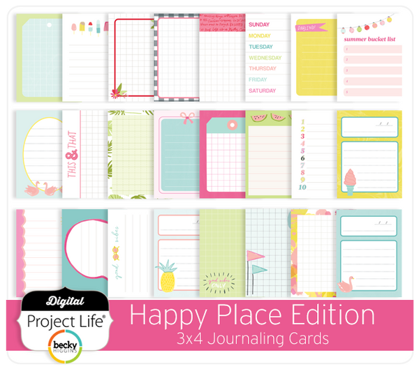 Happy Place Edition 3x4 Journaling Cards