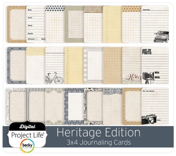 Heritage Edition 3x4 Journaling Cards