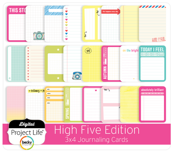 High Five Edition 3x4 Journaling Cards
