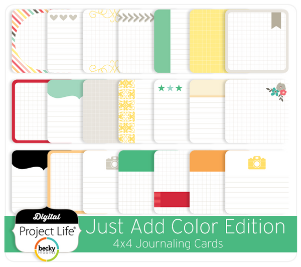 Just Add Color Edition 4x4 Journaling Cards
