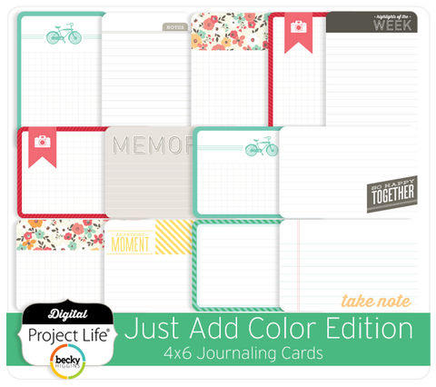 Just Add Color Edition 4x6 Journaling Cards