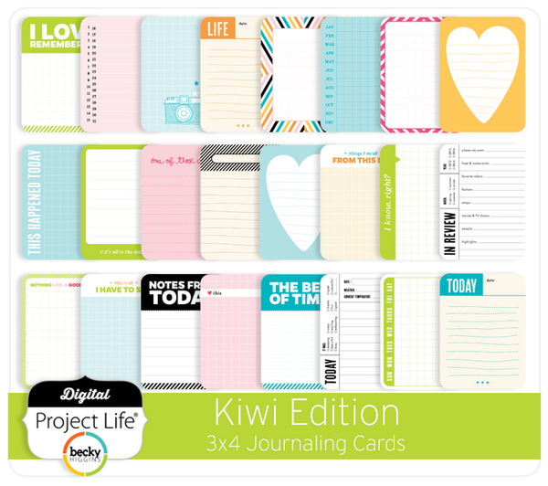 Kiwi Edition 3x4 Journaling Cards