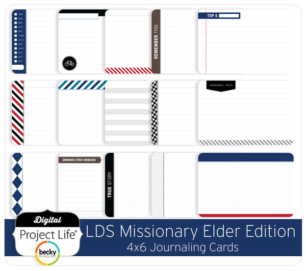 LDS Missionary Elder Edition 4x6 Bi-Fold Journaling Cards