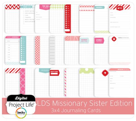 LDS Missionary Sister Edition 3x4 Journaling Cards