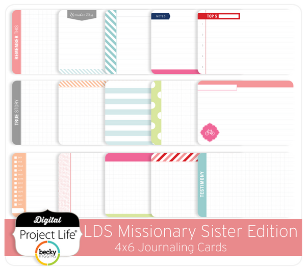 LDS Missionary Sister Edition 4x6 Bi-Fold Journaling Cards