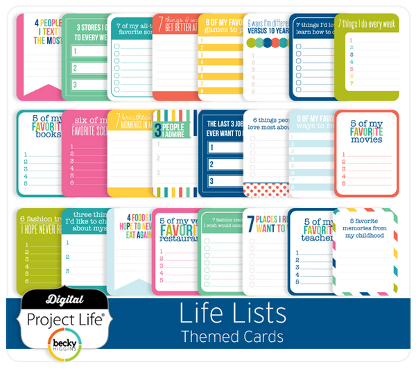 Life Lists Themed Cards
