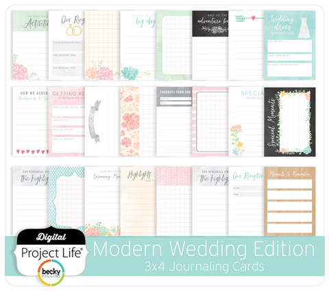 Modern Wedding Edition 3x4 Journaling Cards