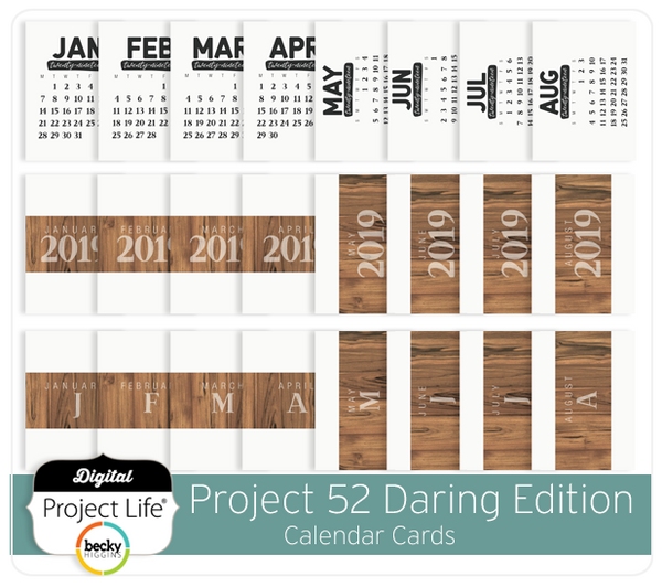Project 52 Daring Edition Calendar Cards