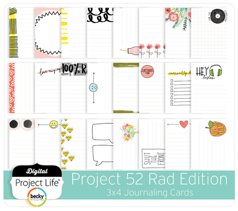 Project 52 Rad Edition 3x4 Journaling Cards
