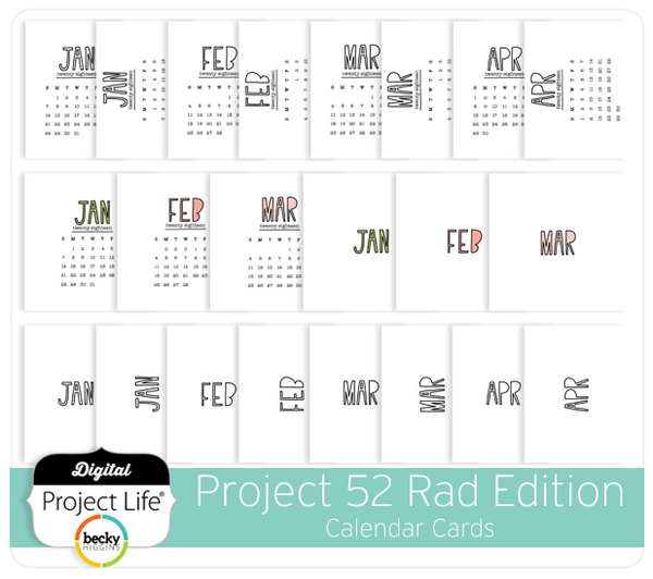 Project 52 Rad Edition Calendar Cards Digitalprojectlife