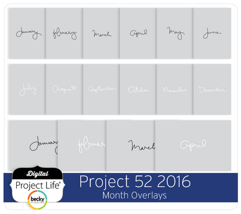 Project 52 2016 Edition Month Overlays