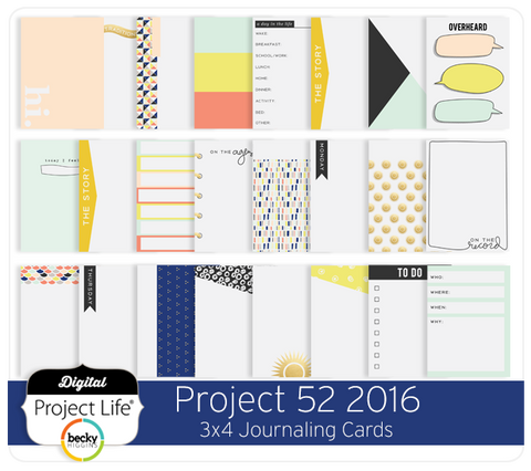 Project 52 2016 3x4 Journaling Cards