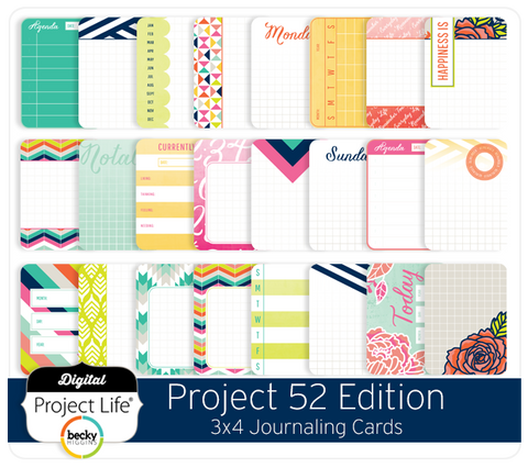 Project 52 Edition 3x4 Journaling Cards