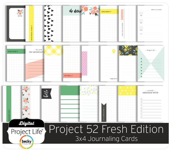 Project 52 Fresh Edition 3x4 Journaling Cards